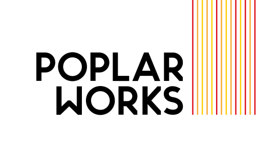 Poplar Works writen in black typography with pink and peach horizontal stripes on the right
